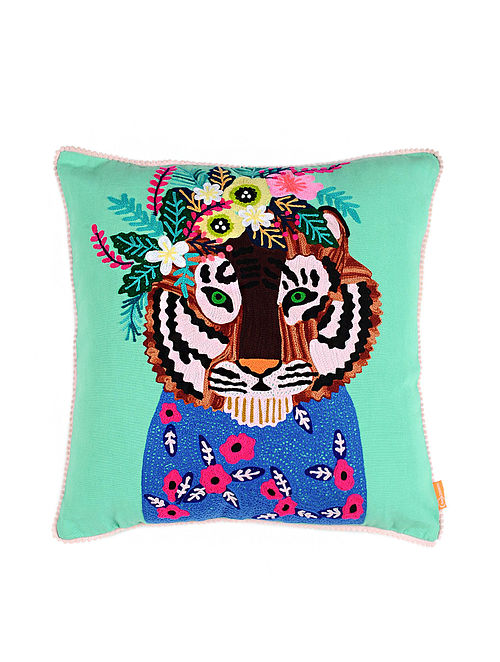 Tiger Green Crewel-Embroidered Cotton Cushion Cover (18in x 18in)