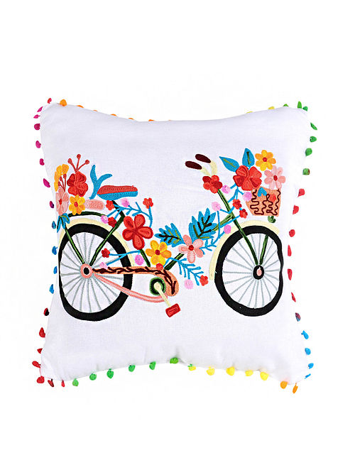 Floral Bicycle White Crewel-Embroidered Cotton Cushion Cover (18in x 18in)