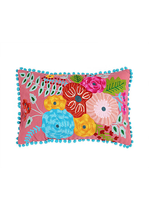 Frida Kahlo Inspired Lavender Crewel-Embroidered Cotton Cushion Cover (12in x 19in)