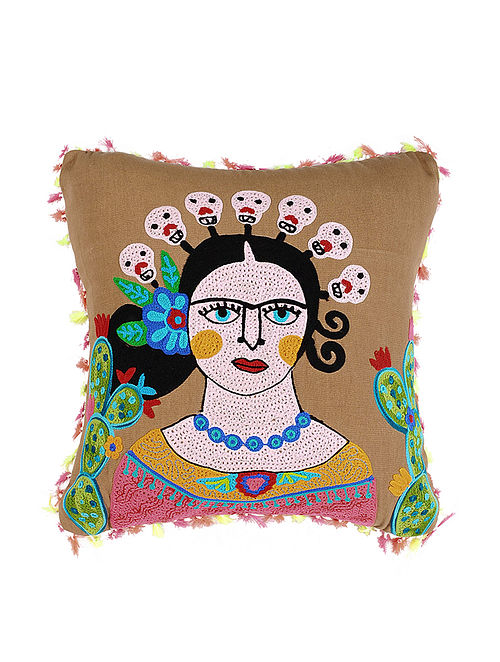Frida Kahlo Inspired Brown Crewel-Embroidered Cotton Cushion Cover (18in x 18in)
