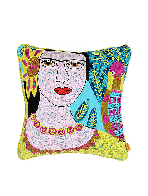 Frida Kahlo Inspired Blue Crewel-Embroidered Cotton Cushion Cover (18in x 18in)