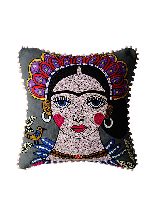 Frida Kahlo Inspired Grey Crewel-Embroidered Cotton Cushion Cover (18in x 18in)