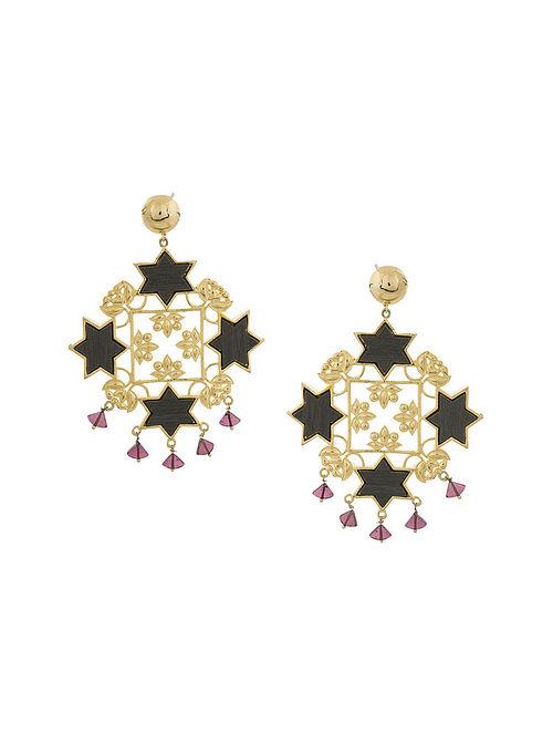 Dark Brown Purple Gold Plated Handcrafted Wood Earrings