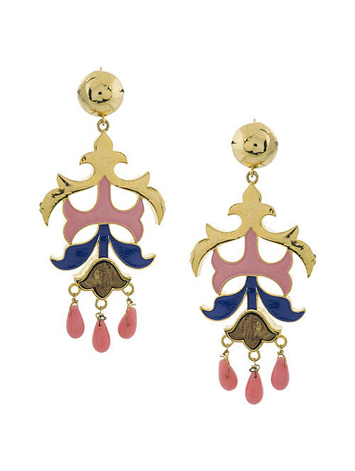 Pink Blue Gold Plated Handcrafted Wood Earrings