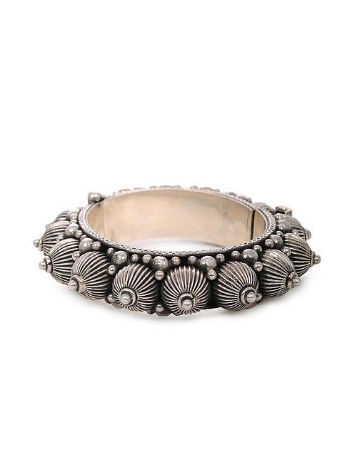 Tribal Silver Hinged Opening Bangle (Bangle Size: 2/6)