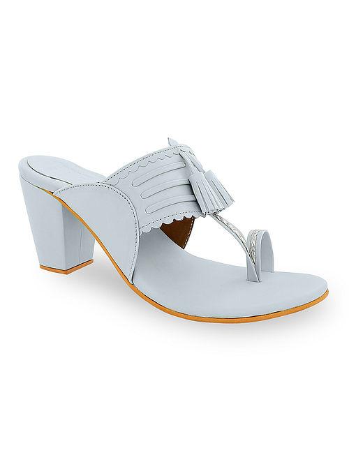 Grey Handcrafted Kolhapuri Block Heels with Tassels