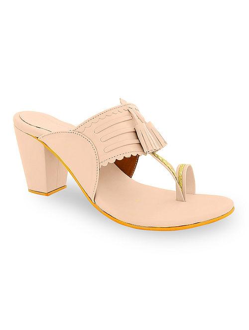 Pink Handcrafted Kolhapuri Block Heels with Tassels