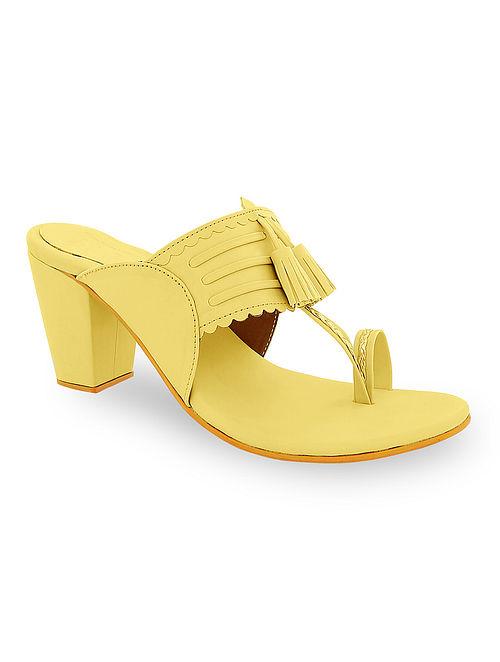 Yellow Handcrafted Kolhapuri Block Heels with Tassels