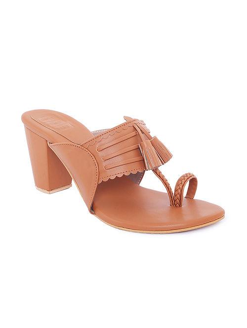 Tan Handcrafted Kolhapuri Block Heels with Tassels