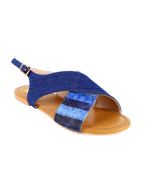 Navy Blue Handcrafted Vegan Leather Sandals