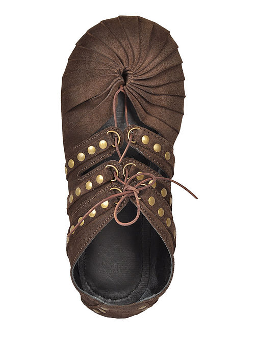 Dark Brown Oiled-Leather Shoes with Rivets
