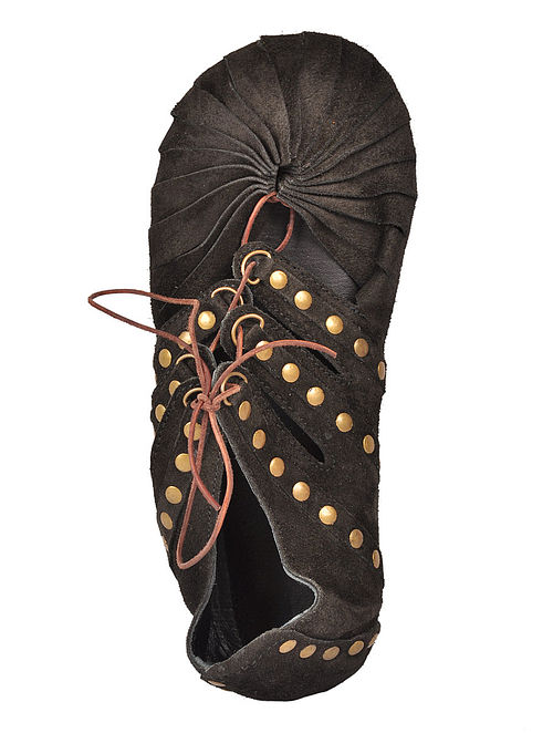 Black Italian Split-Leather Shoes with Rivets