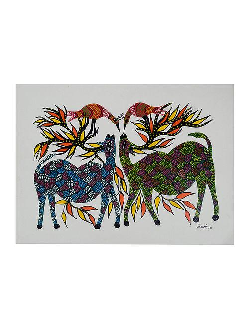 Buy Deer-Birds Bhil Painting By Geeta Bariya 15in X 11in Online at ... 25c8ce0a9016f