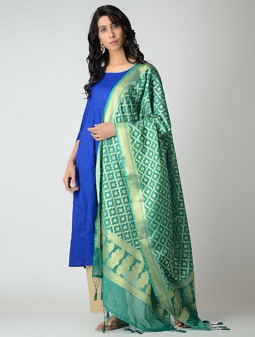 Green Benarasi Silk Dupatta with Tassels