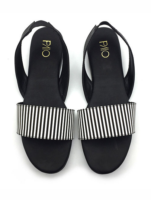 Black White Handcrafted Vegan Leather Sandals