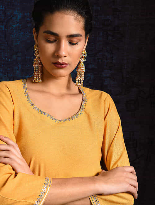 Yellow Handloom Silk Kurta with Hand Embroidery