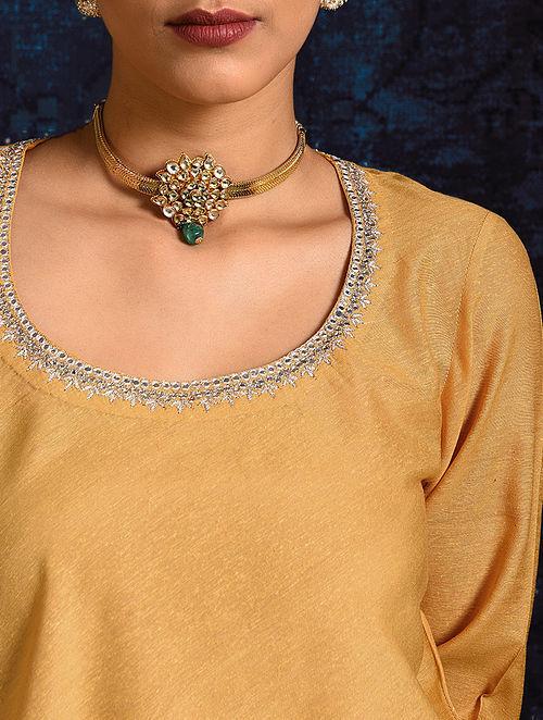 Yellow Handloom Silk Short Kurta with Hand Embroidery