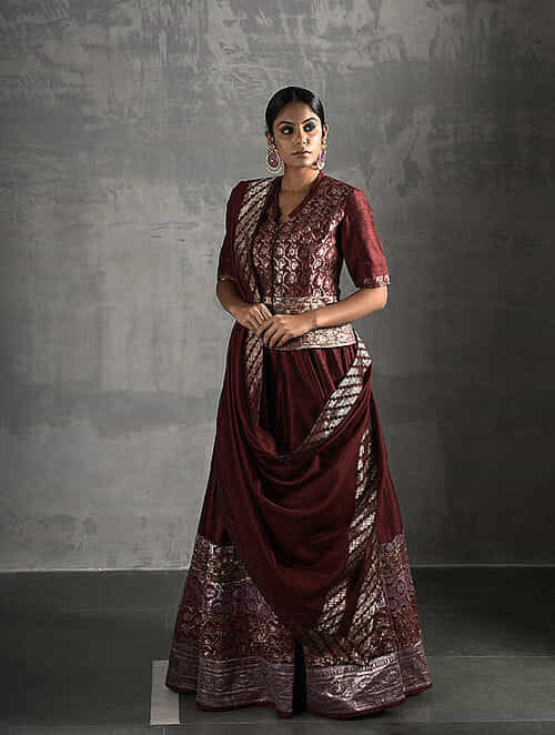 7278842a339d33 Buy Maroon Vintage Benarasi Silk Brocade Peplum Blouse Online at ...