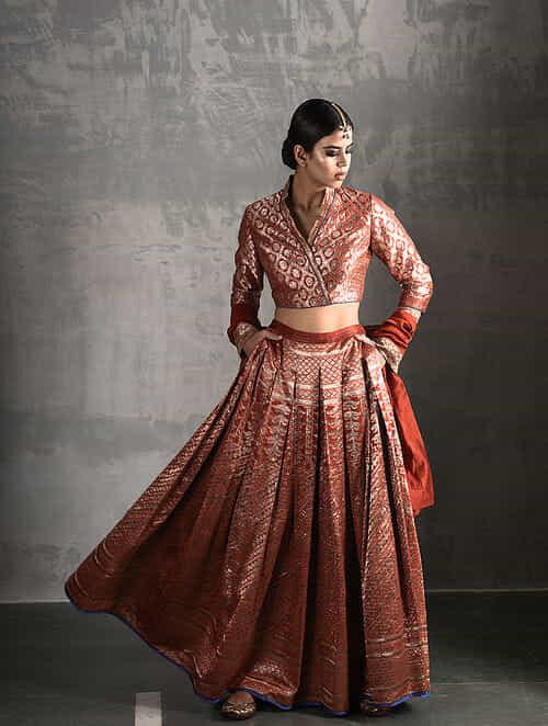 569f02a853e74b Buy Orange Vintage Benarasi Silk Brocade Blouse Online at Jaypore ...