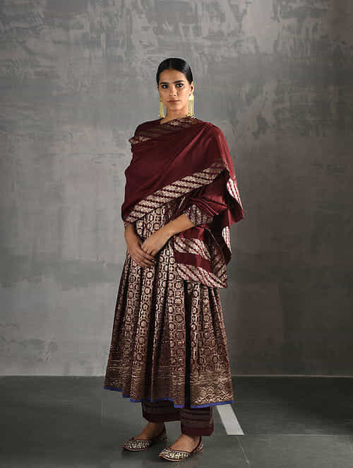 0ae3cbaefe2b90 Maroon Chanderi Dupatta with Brocade Apparel, Jewelry, Accessories, And More