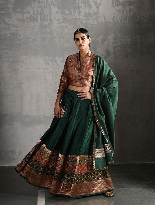 2ad3563ea9 Green Vintage Benarasi Silk Brocade Lehenga Apparel, Jewelry, Accessories,  And More. Rs. 12593
