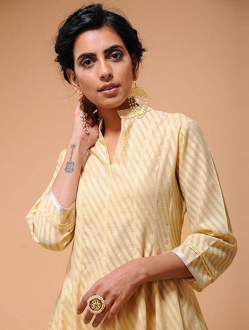 Beige Cotton Cutwork Kalidar Kurta with Tissue Trim