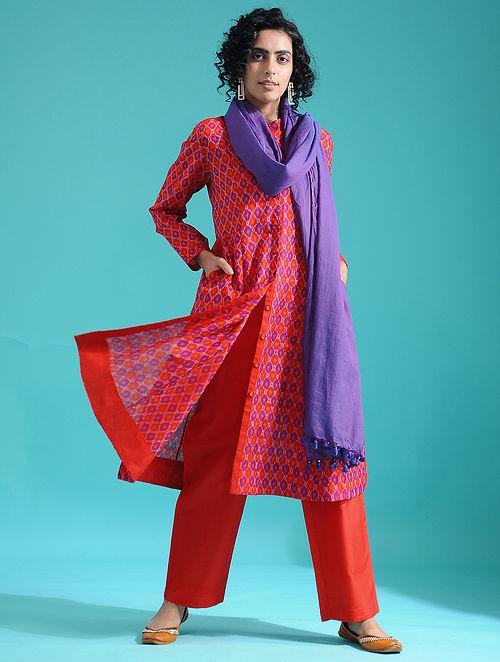 Red Ikat Silk Cotton Kurta
