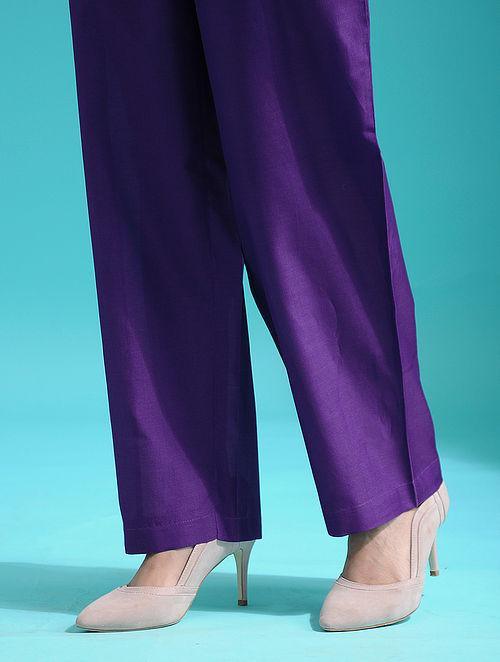 Purple Tie-up Waist Handloom Silk Cotton Pants