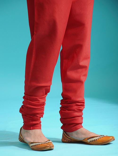 Red Elaticated-waist Handloom Silk Cotton Churidar