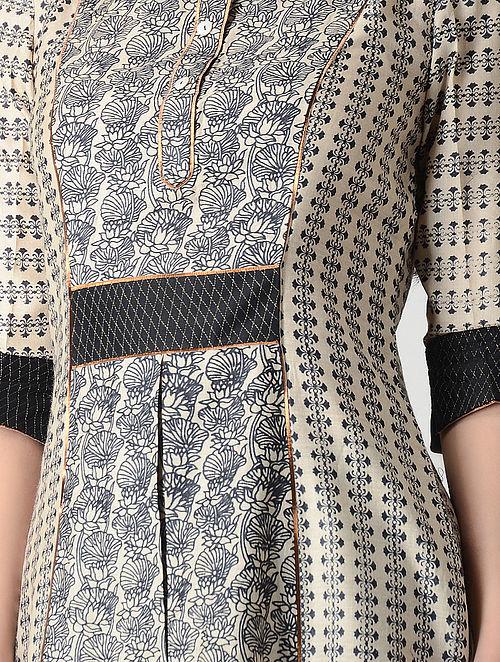 Beige-Black Printed Tussar Silk Kurta with Zari Top Stitch
