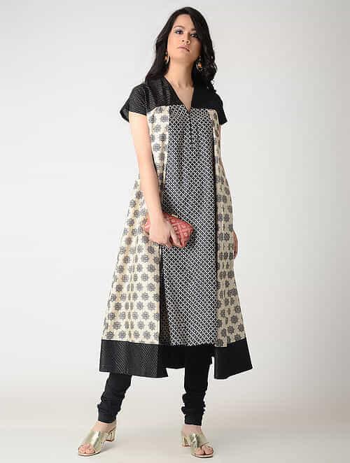 Beige-Black Printed Tussar Silk Kurta with Pleats and Zari Top Stitch