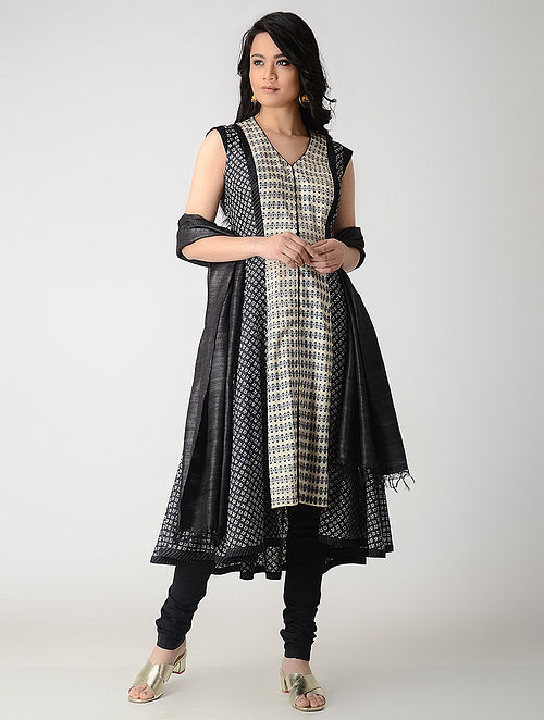 Beige-Black Flared Printed Tussar Silk Kurta with Zari Top Stich