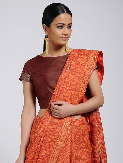 Brown Silk Blouse with Brocade