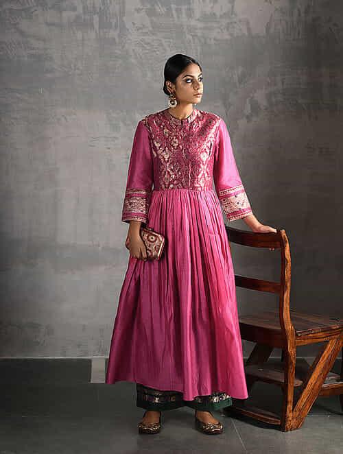 Pink Vintage Benarasi Silk Brocade and Chanderi Kurta with Gathers