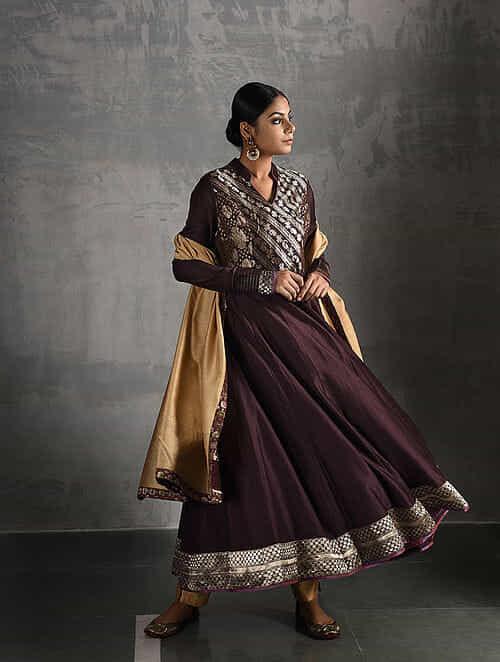Brown Vintage Benarasi Silk Brocade and Chanderi Kalidar Kurta