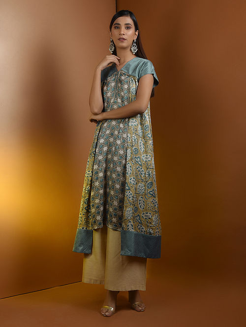 Beige-Blue Ajrakh Gajji Silk Kurta with Top Stitch by Jaypore