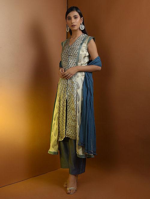 89b37d915c8e7 Buy Beige-Blue Ajrakh Gajji Silk Kurta with Top Stitch by Jaypore ...