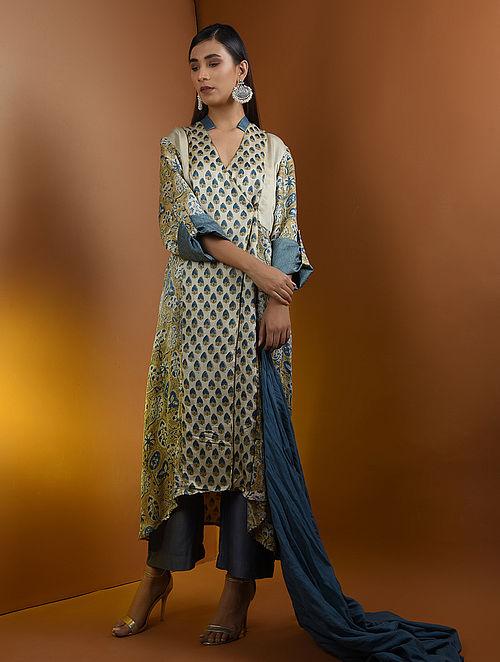 807c0439e2cf5 Buy Beige-Blue Ajrakh Gajji Silk Kurta with Top Stitch and Lace Detail ...