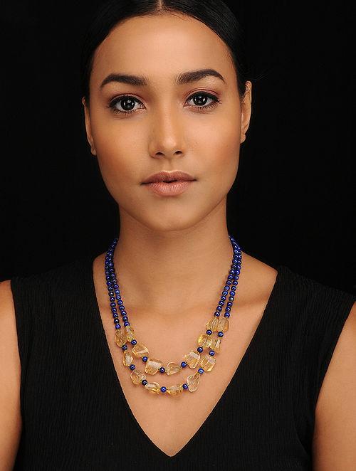 Citrine and Lapis Lazuli Beaded Necklace