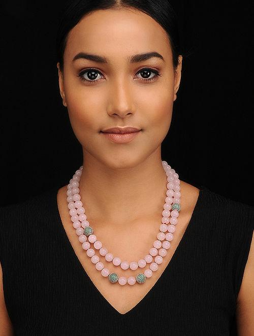 Rose Quartz Silver Tone Beaded Necklace