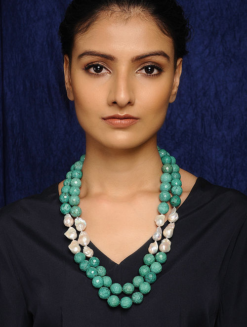 Turquoise and Baroque Pearl Beaded Necklace