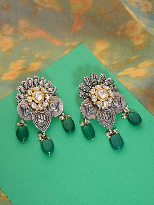 Dual Tone Kundan Silver Earrings with Green Onyx