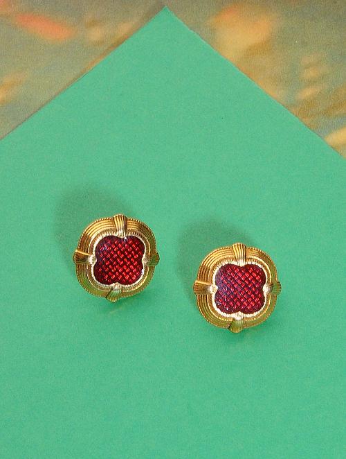 Red Meenakari Gold Plated Silver Earrings