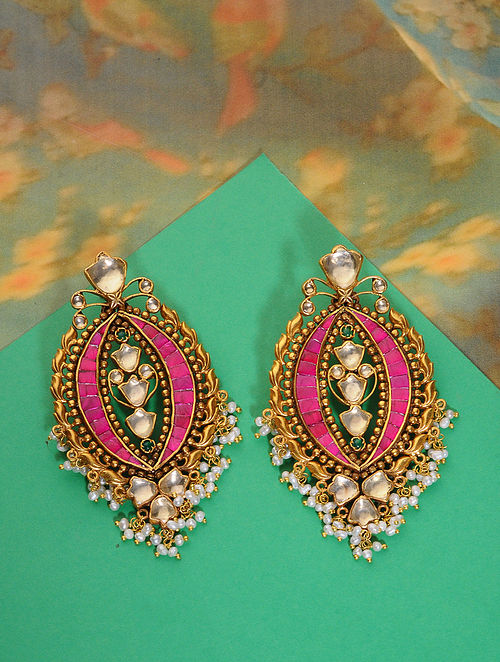 Pink Meenakari Gold Plated Kundan Silver Earrings with Pearls