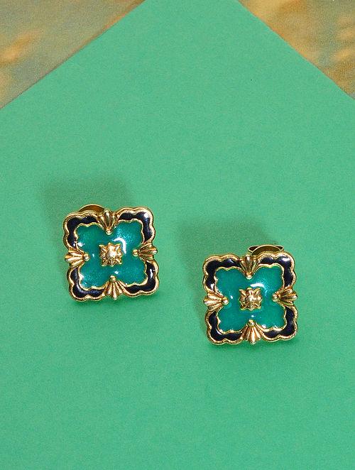 Blue Meenakari Gold Plated Silver Earrings