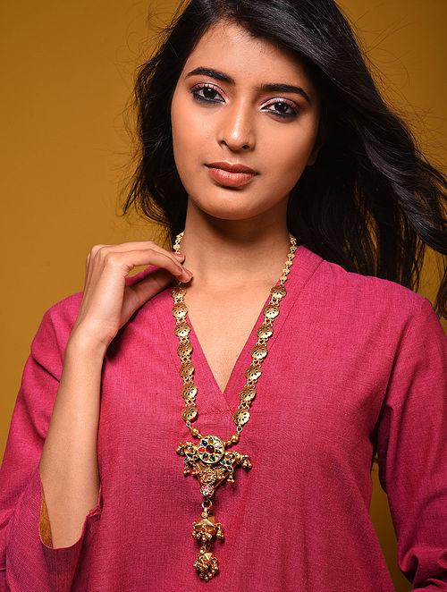Navrattan Gold Plated Kundan Silver Necklace