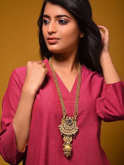 Dual Tone Kundan Silver Necklace with Pearls