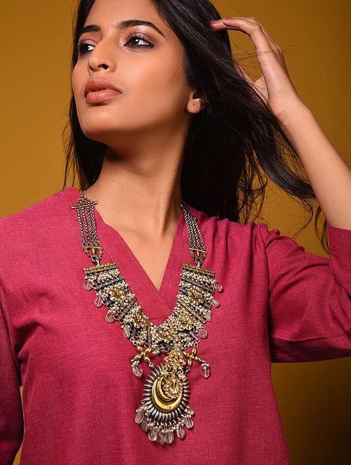 Dual Tone Kundan Silver Necklace with Blue Quartz
