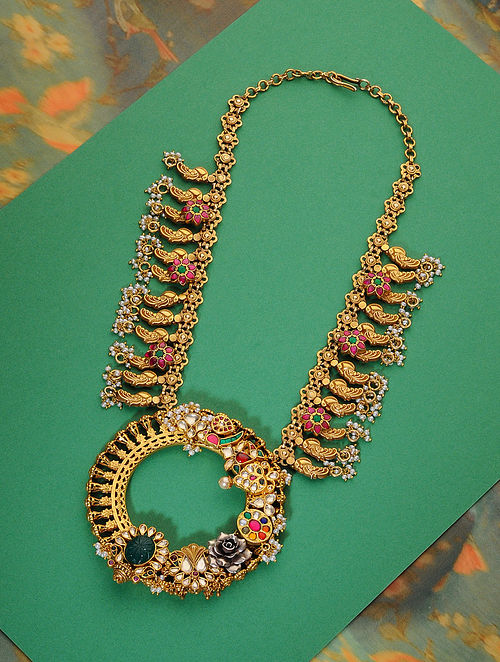 Multicolored Meenakari Gold Plated Kundan Silver Necklace with Pearls
