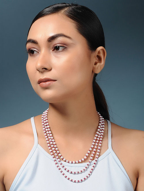 Ruby and Pearl Beaded Necklace